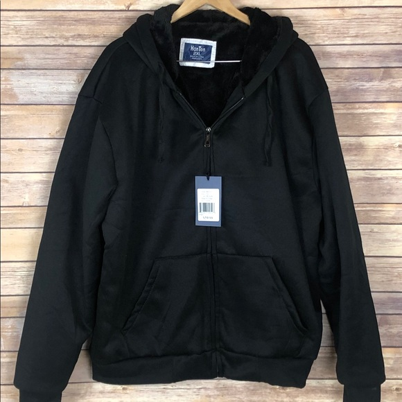 Han Ton Other - Mens Jacket Hoodie Black Lined Full Zip  2XL New